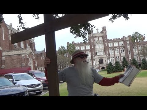 Loyola University - Street Preacher disturbs classes!