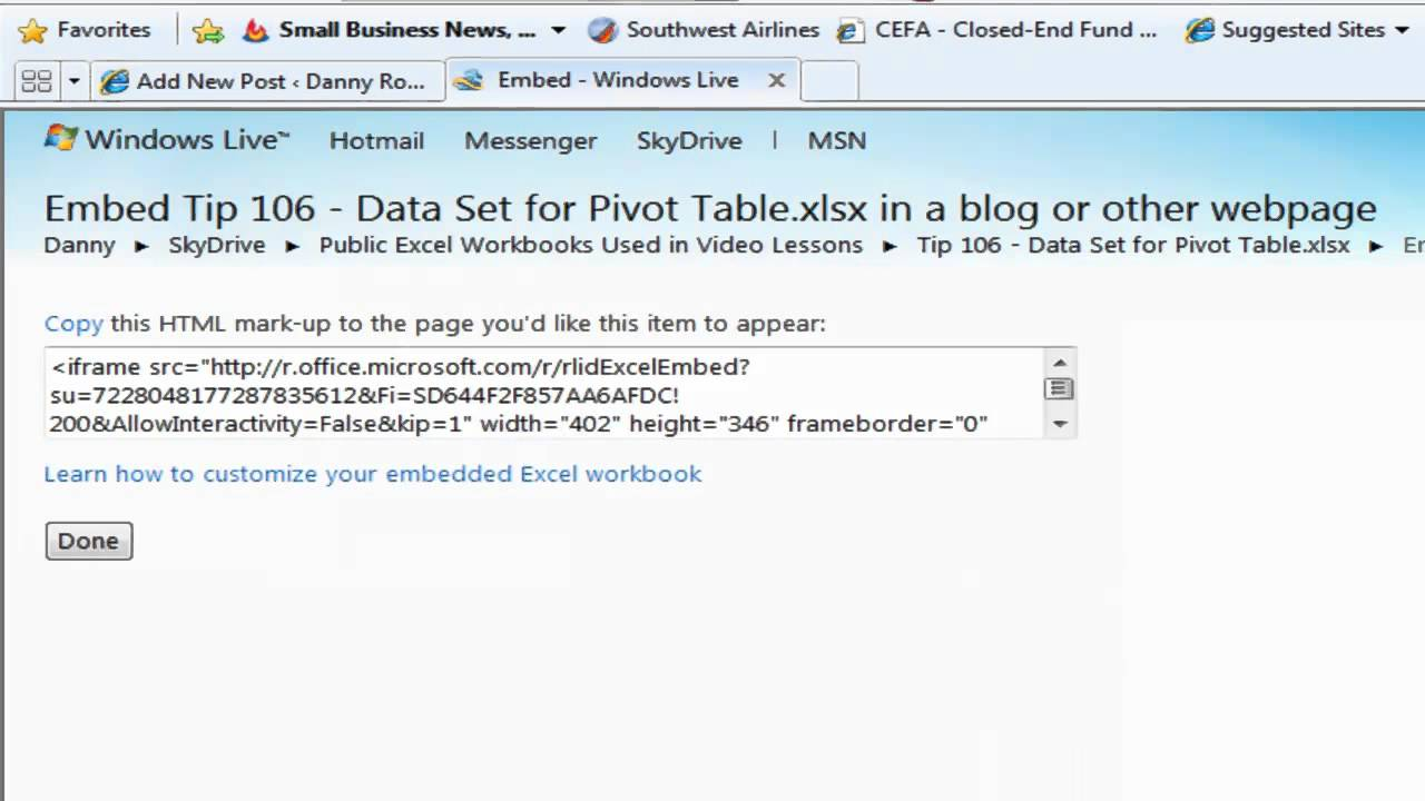 Workbooks workbook live : How to Embed an Interactive Excel Workbook in a Blog Post - YouTube