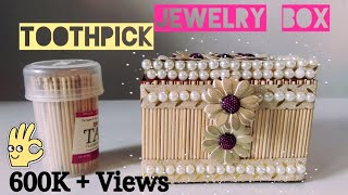 Learn to make the Jewellery Box from Toothpick . Things you need (1) A box of Toothpick (2) Soap Box (3) Fevicol (4) Design Tape (