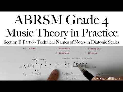 ABRSM Grade 4 Music Theory Section E Part 6 Techincal Names of Notes in Diatonic Scales with Sharon