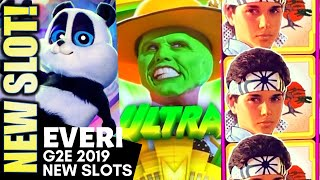 ★G2E 2019 | EVERI★ NEW SLOTS! THE MASK | KARATE KID | WICKED WHEEL PANDA SLOT MACHINE PREVIEW