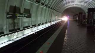 WMATA Yellow Line to Huntington emerges from pocket track at Mt. Vernon Square