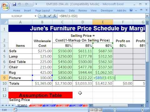 excel magic trick 285 markup on sell price formula youtube. Black Bedroom Furniture Sets. Home Design Ideas