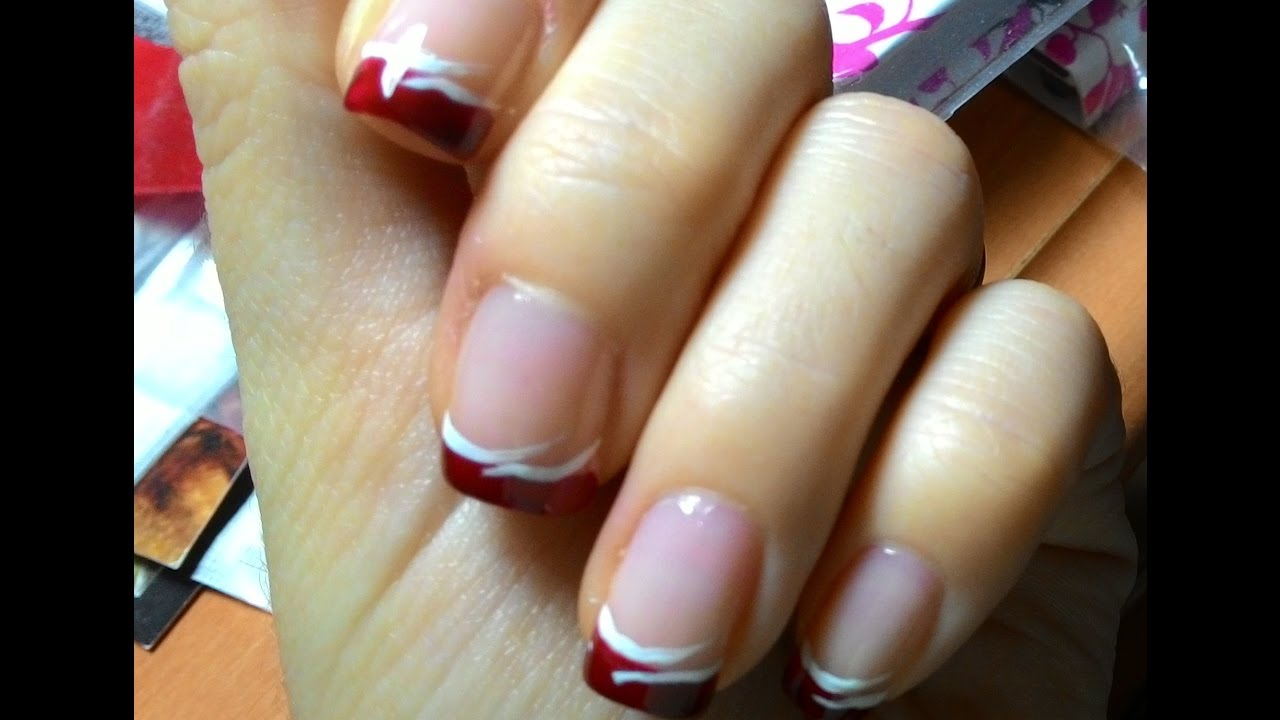 Manicura francesa color rojo con adorno sencillo youtube - Manicura francesa colores ...