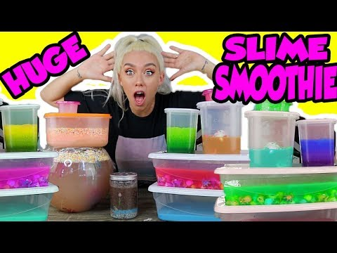 Mixing All My Slimes! DIY Giant Slime Smoothie!!!! Nicole Skyes