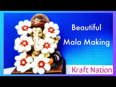 DIY Cotton Garland | Easy flower mala making | Cotton garland making at home