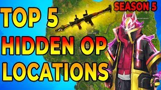 *NEW* BEST 5 HIDDEN OP PLACES To LAND For EASY WINS and Loot (Fortnite Map Season 5) thumbnail