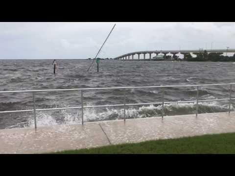 Hurricane Irma Titusville, Florida Waves and Wind Sunken Boat