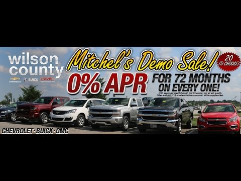 Chevy Buick GMC Demo Sale get 0% apr for 72 Months wac at Wilson County Motors