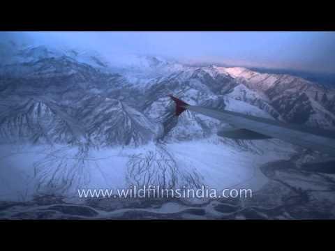 Aerial view of Ladakh mountains