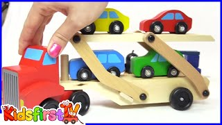 Colors for kids with car transporter & toy cars.