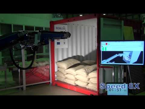 RobLog Industrial MS4 Trailer featuring the Needle Chain Gripping Unit Unloading Coffee Sacks