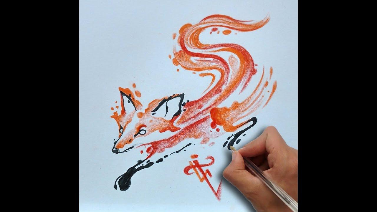 Zorro Acuarela Fox Acuarelle Tattoo Nosfe Ink Tattoo Youtube