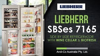 Liebherr SBSes 7165 Side by Side Refrigerator with Wine Cellar & BioFresh