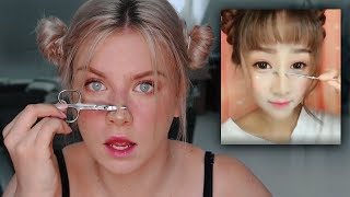 Ich Probiere ein KOREANISCHES Make Up Tutorial aus