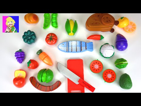 Learn Names of Fruits and Vegetables with Toy Food Cutting & Peeling Velcro Food Toys for Kids!