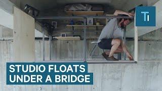 A Designer Utilized Space Under A Bridge For A Hanging Studio