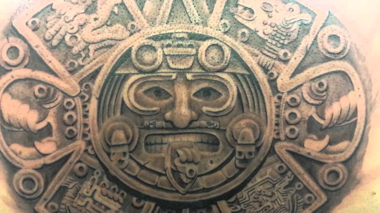 Sol Azteca Tatuaje tattoo espalda calendario maya. ink-omplet-iko. - youtube