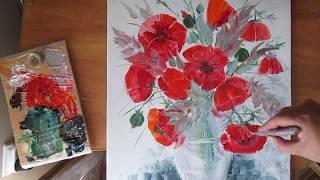 Маки нарисовать масляными красками.