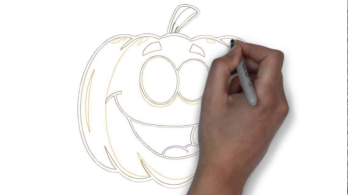 come disegnare una zucca di halloween felice youtube. Black Bedroom Furniture Sets. Home Design Ideas