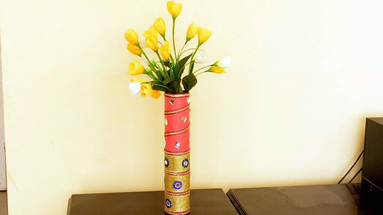 How To Make Flower Vase Craft Beautiful Vase
