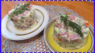 Салат из вареного риса с яйцами и колбасой