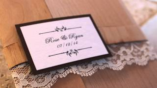 Wooden Wedding Invitations- Real Wood Wedding Invite Pocketfold with or without Lace