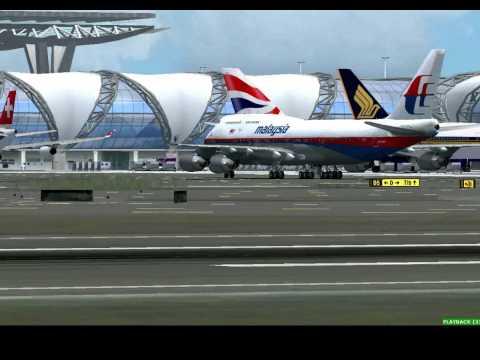 FSX B747 landing Bangkok Suvarnabhumi Airport (Malaysia Airlines)