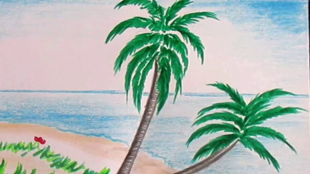 How to draw  beach scene and palm trees  Scenery Drawing Channel