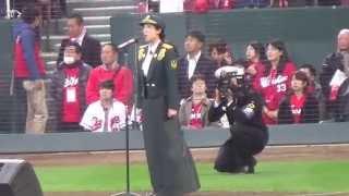 陸自の歌姫、鶫真衣さんの国歌斉唱と始球式 thumbnail