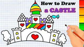 Cute Princess Castle How to draw Easy for kids