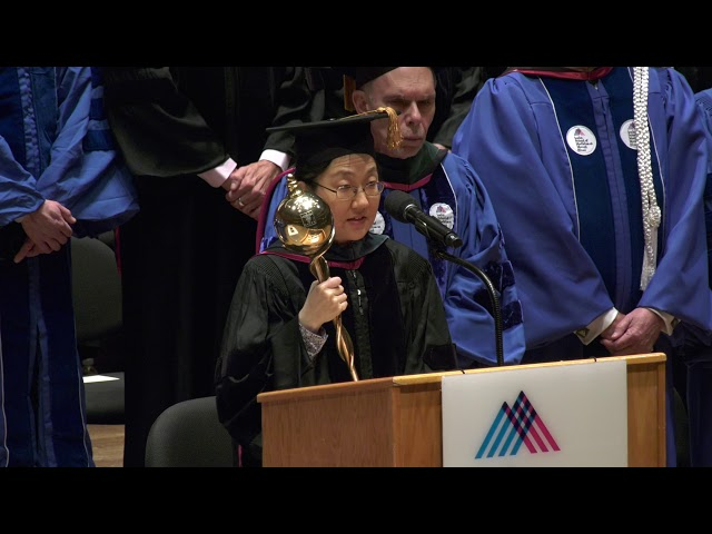 Grand Marshal Dr. Tonia Kim Offers Opening Remarks at 2019 Commencement