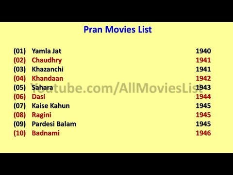 Pran Movies List