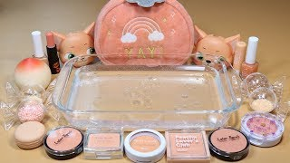 """Peach"" Mixing ""Peach"" EYESHADOW and Makeup,glitter Into Clear Slime! ""Peach SLIME"""