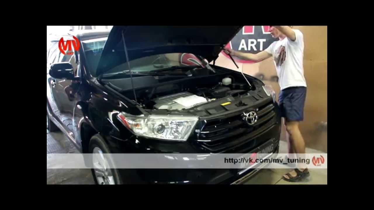 Тюнинг Toyota Highlander (XU40). Установка упора капота.