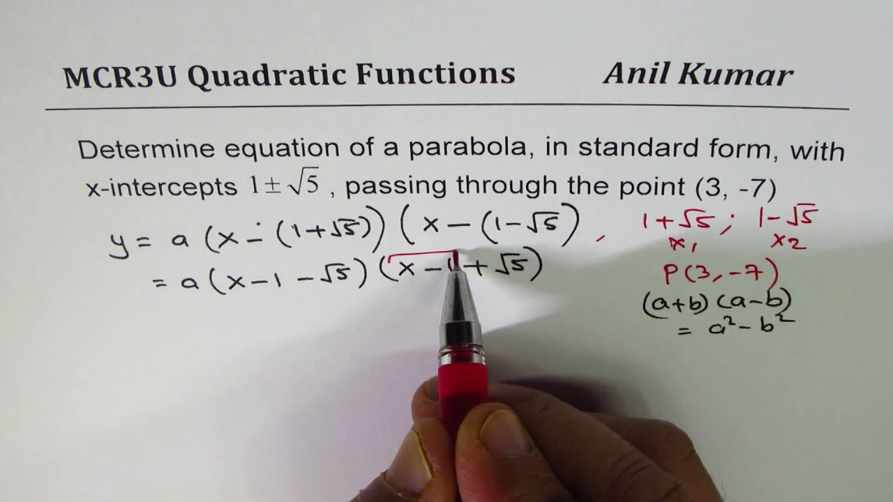 Write quadratic equation in standard form from given rational write quadratic equation in standard form from given rational roots and a point falaconquin
