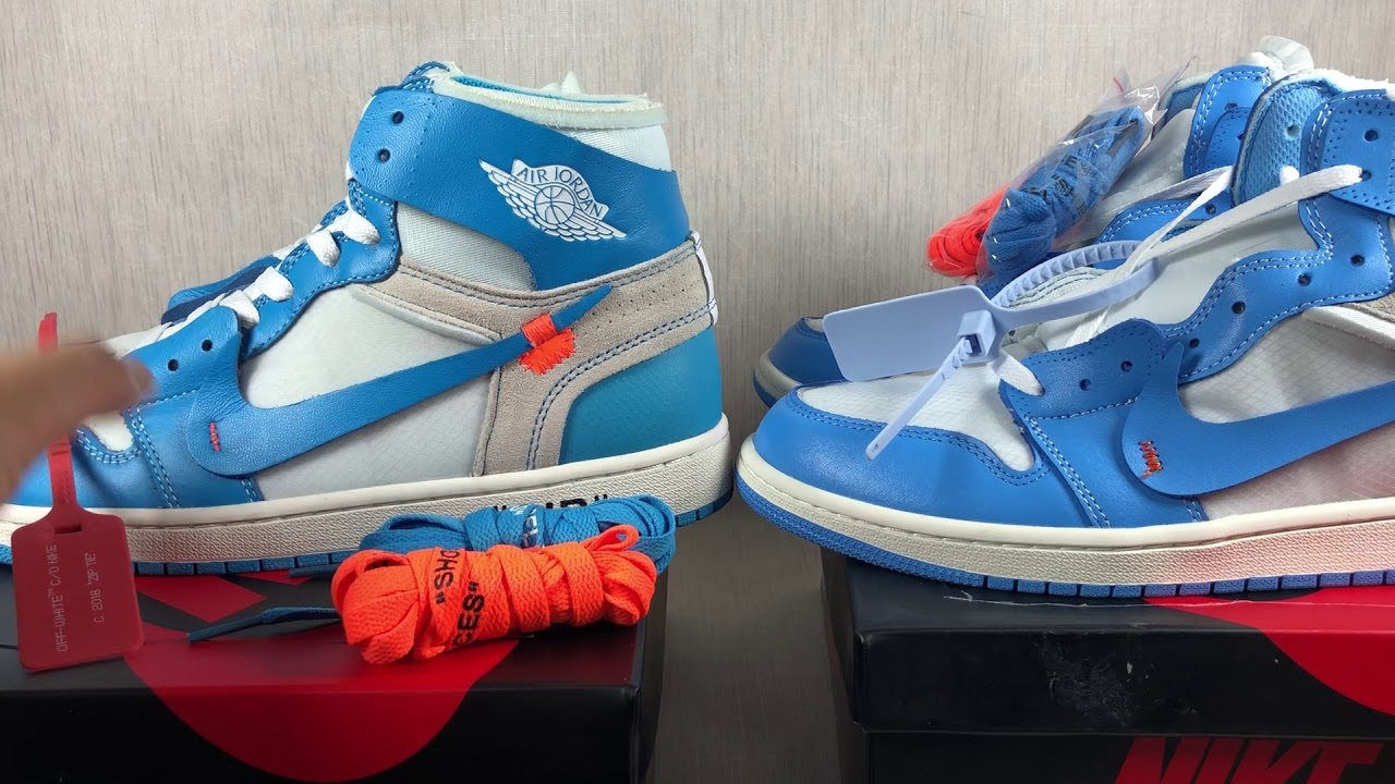 8378dafbcbc728 Jordan 1 Retro High Off White University Blue Fake VS Real by SAMSCABIN
