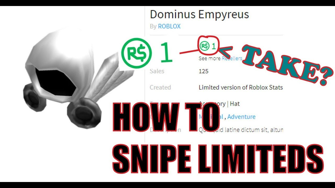 How To Snipe Limiteds For 1 Robux Roblox Youtube