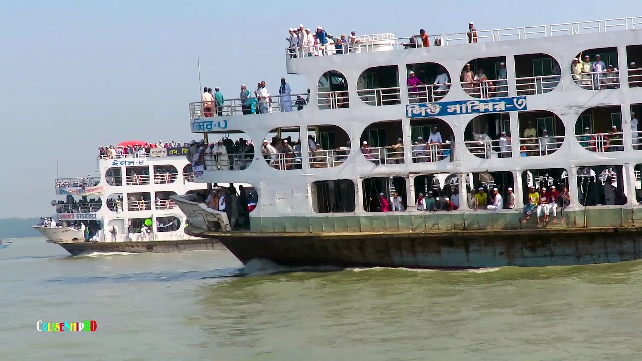 হাজার হাজার যাত্রী নিয়ে চরমোনাই থেকে ঢাকার পথে হূলারহাট ভান্ডারিয়ার   MV Eagle_8   Cruise Ship BD