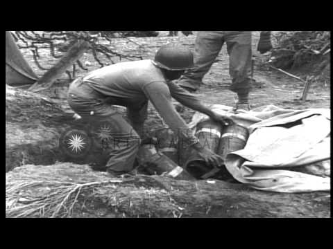 United States 969th Field Artillery men unload shells in Luxembourg, France durin...HD Stock Footage