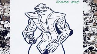 Como dibujar a reptile de mortal kombat | how to draw reptile