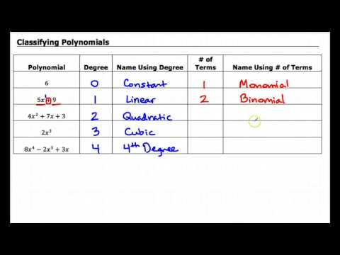 8.1 Classifying Polynomials