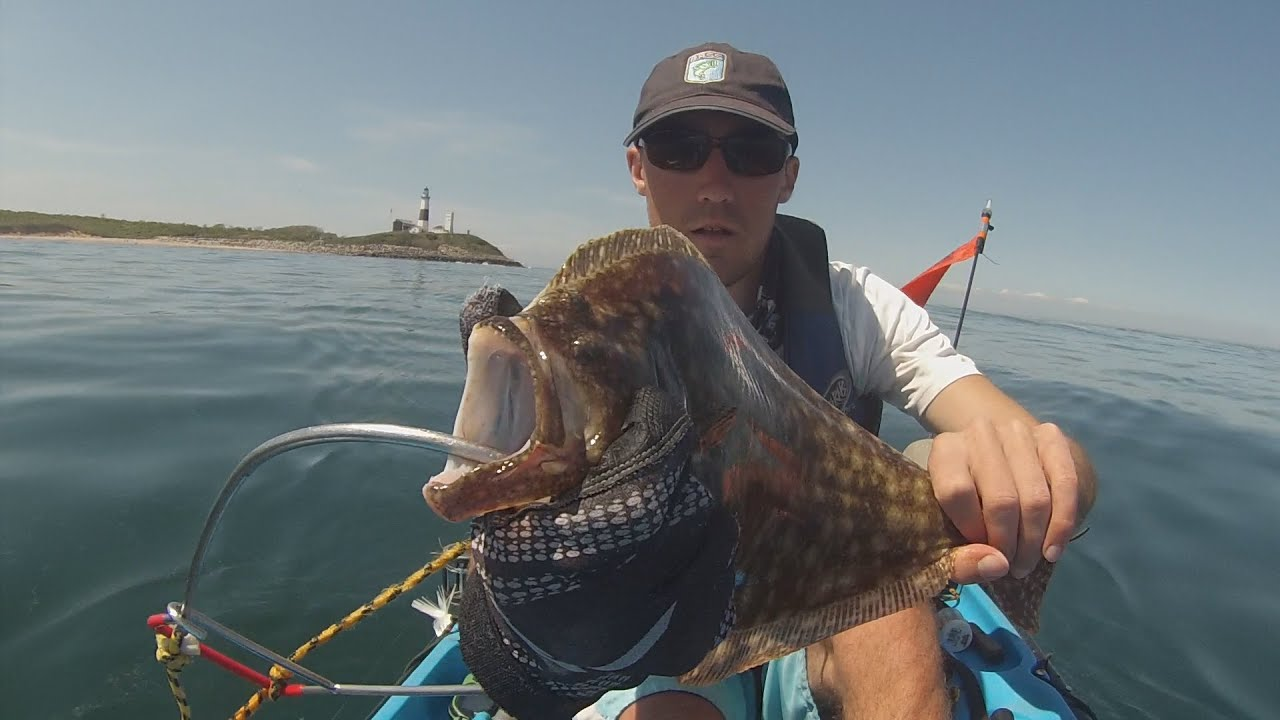 Kayak fluke fishing off montauk ny and a weird fish youtube for Fluke fishing nj