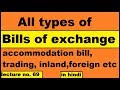 All types of bills of exchange accommodation bill trading bill inland foreign bill at sight in Hindi