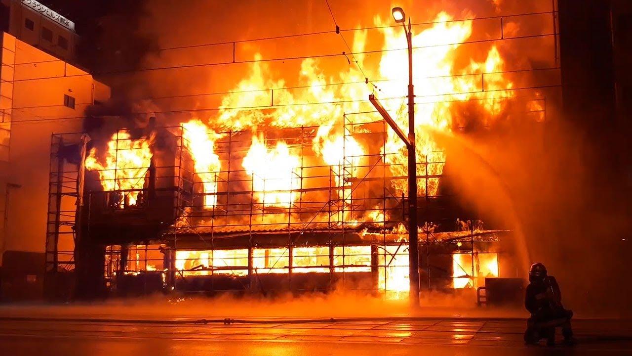 熊本市中心部で火災 火柱が高く上がる - YouTube