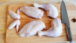 How to cut a chicken in pieces and use the bones to make a chicken stock