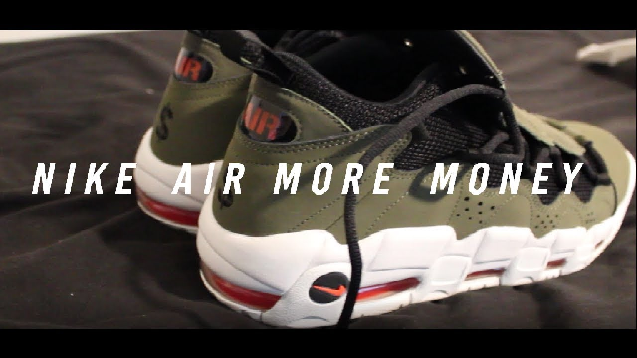 Air More Money Nike Air More Money Olive / Habanero Red Showcase - YouTube