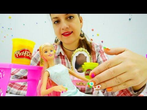 Салон красоты с Барби: Красивый Маникюр из пластилина ПЛЕЙ ДО (Play DOH nails). Игры для девочек