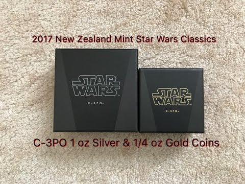 2017 Star Wars Classics C-3PO 1 oz Silver & 1/4 oz Gold Coins - New Zealand Mint