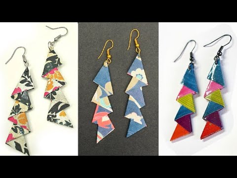 DIY : Triangle Scrapbook Paper Earrings Things to make awesome